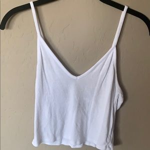 white vneck crop top